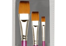 Handle Chip (Creative Inspirations Dura-Handle? Artist Paint Brushes Long Solid Resin Handle Resists Chips & Cracks - Flat [Set of)