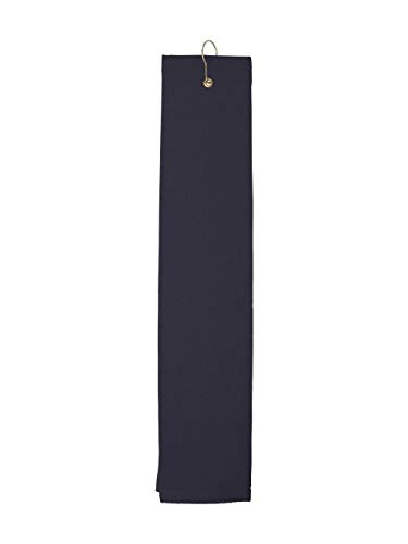Towels Plus By Anvil Deluxe Tri-Fold Hemmed Hand Towel With Center Grommet (Navy) (ONE)