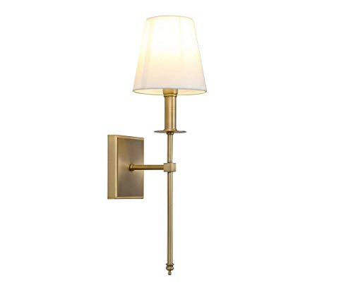 (Single Classic Rustic Industrial Wall Sconce Lighting Fixture with Flared White Textile Lamp Shade and Antique Brass Tapered Column Stand,Gold )