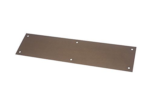 "Rockwood 70C.10B Bronze Standard Push Plate, Four Beveled Edges, 16"" Height x 4"" Width x 0.050"" Thick, Satin Oxidized Oil Rubbed Finish"