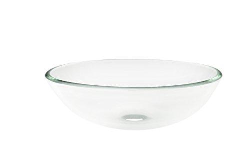 Topia TS-4024 Glass Above Counter Round Bathroom Sink, 16'' L x 16'' W x 5.5
