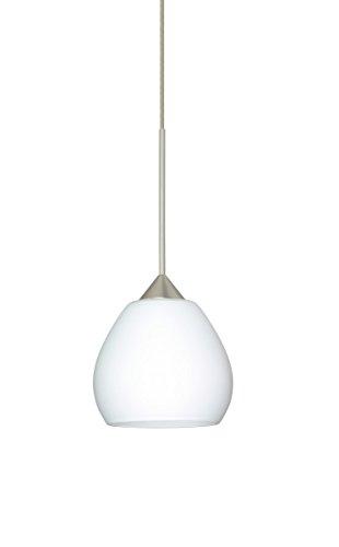 Besa Lighting 1XT-560507-LED Tay Tay 1 Light LED Cord-Hung Mini Pendant with Opa, Satin Nickel ()