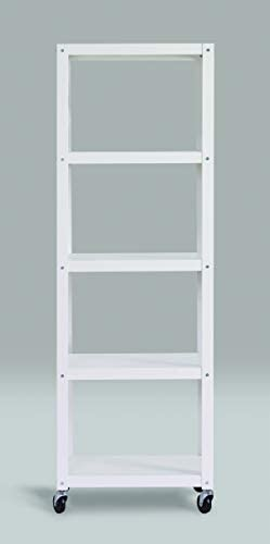 Space Solutions Home Office Collection Mobile Metal Bookcase, 72 x 24 x 14 , White