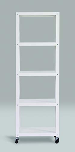 Office Dimensions 72″ High Mobile Metal Open Bookcase, 5 Shelf – Home Office Collection – White