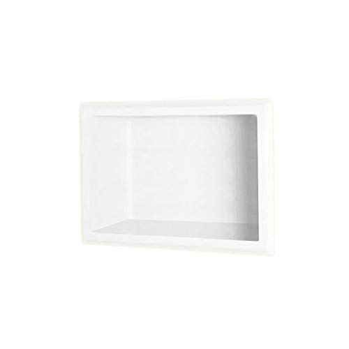 Swanstone AS01075.010 Solid Surface Single Shower Shelf 4.125'' L x 7.5'' H x 10.75'' H White by Swanstone (Image #1)