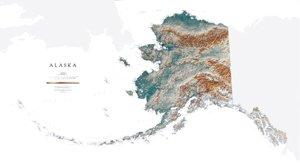 image regarding Printable Maps of Alaska named Alaska Topographic Wall Map through Raven Maps, Laminated Print
