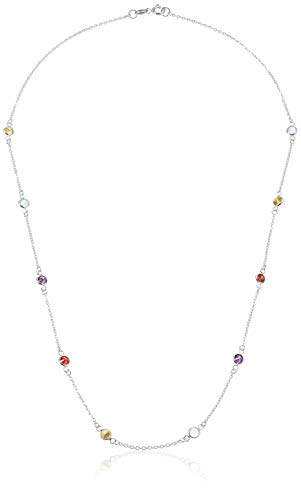Multi Gem Necklace - Amazon Essentials Sterling Silver AAA Cubic Zirconia Station Necklace, Mulit-Colored, 20