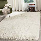 LA Solid Pattern Fluffy Furry Soft Modern Contemporary Thick Plush Sheepskin Sheep Hide Sheep Skin Animal Skin 5-Feet-by-7-Feet Polyester Made Area Rug Carpet Rug White Color