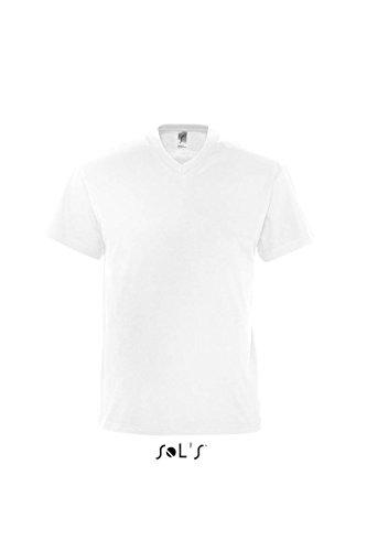 Sols - Victory - Herren V-Neck-T-Shirt , White , XL