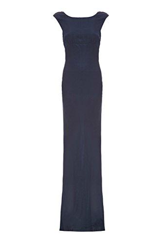 Edith Windsor Women's Athena Satin Cowl Back Evening Dress Medium Navy Blue (Cowl Neck Evening Gown)