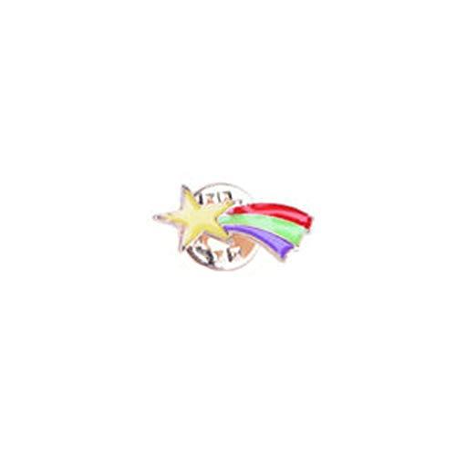 (WYKsoku Cartoon Enamel Moon Alien Planet Badge Collar Lapel Brooch Pin Clothes Jewelry Decoration Accessory Meteor)