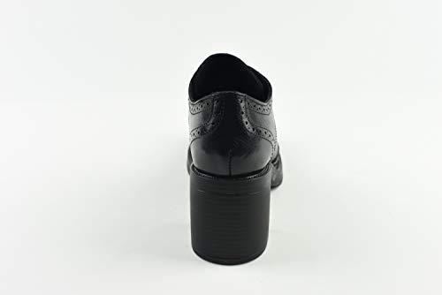 Con Stringata Donna Forature Decorative 6 Tacco Scarpa Emozioni Cm Derby Nero tR54PwTq