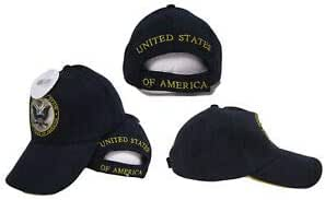 U.S Army Gold Letters Black Embroidered Cap Hat CAP601DG TOPW