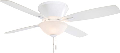 Minka-Aire F533-WH, Mojo II White Flush Mount 52 Ceiling Fan with Light