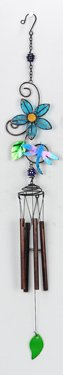 Blue Flower with Blue Dragonfly Wind Chime