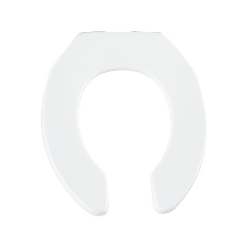 Round Open Front Less Cover - Bemis 955SSC000 Open Front Less Cover Round Toilet Seat with Self Sustaining Check Hinge, White by Bemis