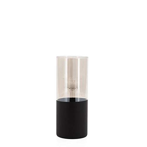 Torre & Tagus Onyx Base Smoke Glass Cylinder 8