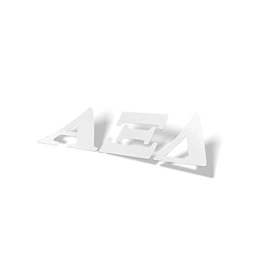 (Alpha Xi Delta Sorority White Letter Sticker Decal Greek 2 Inches Tall for Window Laptop Computer Car Alpha zee)