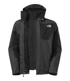 (North Face Mens Exertion Triclimate Ski Jacket 2014, Asphalt Grey/TNF Black, L)