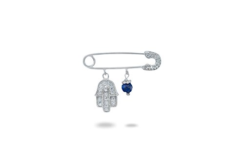 Safety Pin Brooch - Sparkling Hamsa - Dangling Lapis Lazuli - Sterling (Pave Safety Pin)