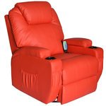 HomCom Deluxe Heated Vibrating PU Leather Massage Recliner Chair...