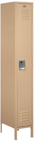 (Salsbury Industries 61168TN-U Standard Metal Locker Single Tier 1 Wide 6 Feet High 18-Inch Deep Tan Unassembled Tan)
