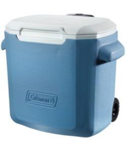 Coleman!. 28 Quart Rolling Cooler-Blue