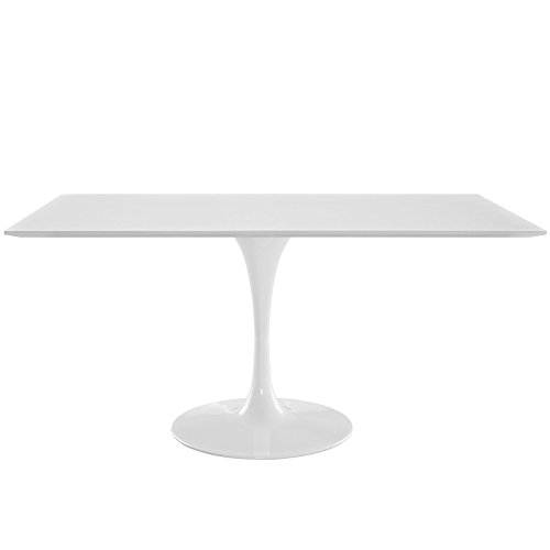 "Modway Lippa 60"" Mid-Century Modern Dining Table with Rectangle Top and Pedestal Base in White"