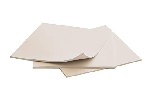 Rubber Sheets, Off White, (Pack of 3) 6x6-Inch by 1/8 (+/-10%) Hardness Shore A 60/65 Neoprene, Plumbing, Gaskets DIY Material, Supports, Leveling, Sealing, Bumpers, Protection, Abrasion, Flooring ()