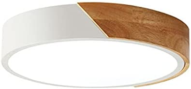Ceiling Light Modern LED Ceiling Light Ultra Thin Wooden Ceiling Lamp Living Room Lighting Kitchen Corridor Balcony Light with Remote Control (Body Color : White)