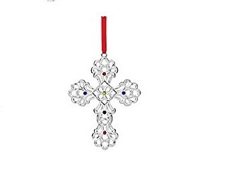 (Lenox Holiday Silverplate Multi Crystal Cross Ornament)