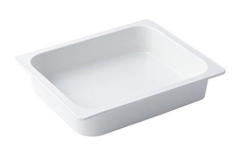 Bon Chef 5065 Aluminum 1/2 Size Rectangle Food Pan, 4 quart Capacity, 13'' Length x 10-3/8'' Width x 2-3/4'' Height, Sandstone White by Bon Chef