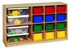 Childcraft Mobile 12-Tray And 2-Shelf Storage Unit