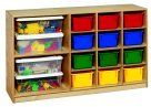 Childcraft Mobile 12-Tray And 2-Shelf Storage Unit