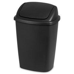Sterilite® 7.5 Gallon Swing-Top Wastebasket - Black