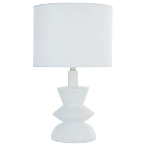 Rivet Mid-Century Contemporary Table Lamp with Bulb, 21 H, White – 67095
