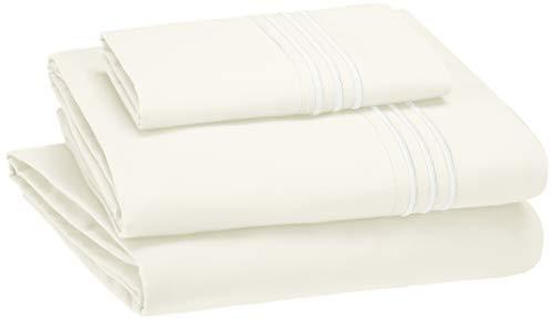 AmazonBasics Embroidered Hotel Stitch Sheet Set - Premium, Soft, Easy-Wash Microfiber - Twin, Off-White