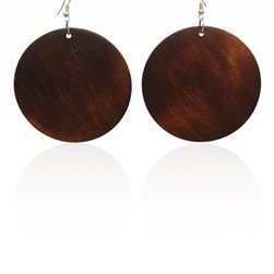 Special Gift Dark Brown Coco Wood Round Disc Dangle Hoop Earrings