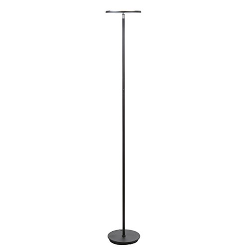 Tower Torchiere Floor Lamp - Brightech SKY LED Torchiere Floor Lamp - Energy Saving, Dimmable Adjustable Lamp, Reading Lamp- Modern Tall Standing Pole Uplight Lamp Light for Living Room, Dorm, Bedroom, and Office -Black (Certifie