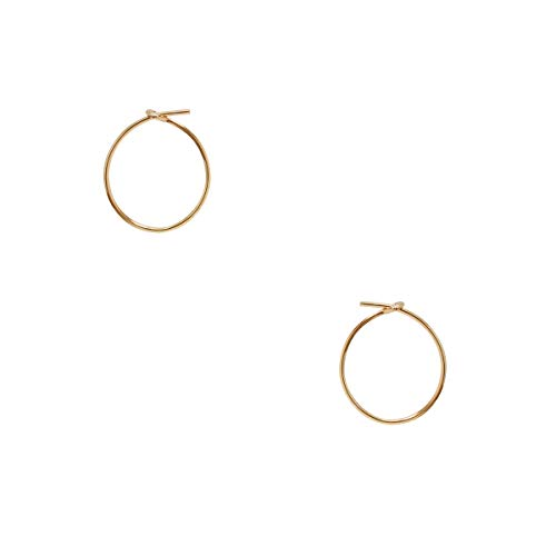 Humble Chic Small Hoop Earrings for Women - Hypoallergenic Round Lightweight Wire Threader Loop Tiny Huggies, 18K Yellow - 0.5 inch, Gold-Electroplated, Tiny
