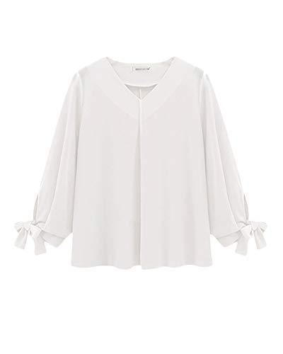 Elegante Camicia Blusa Bianco da Maniche con Donna Lunga Chiffon Casuali Manica V Top Scollo zYS8Un