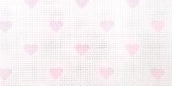 DMC Bulk Buy Impressions Aida Needlework Fabric 14 Count 14 inch x 18 inch White W/Baby Pink Hearts DC27C-ROSE (2-Pack)
