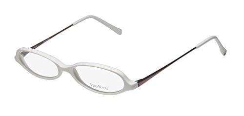 Vera Wang V46 Womens/Ladies Cat Eye Full-rim Designer Sleek European Eyeglasses/Eye Glasses (50-15-135, White/Brown) (Cats Eye Brille)