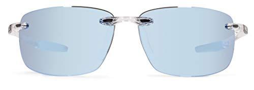 Revo Unisex RE 1070XL Descend Oversized Rectangular Polarized UV Protection Sunglasses, Crystal Frame, Blue Water ()