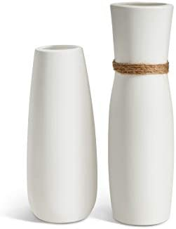 Opps White Ceramic Vases with differing Unique Rope Design for Home D cor Set of 2