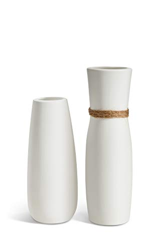 Opps White Ceramic Vases with differing Unique Rope Design for Home Décor - Set of 2