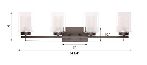 """Wall Light 4 Light Bathroom Vanity Lighting with Dual Glass Shade in Dark Bronze Indoor Wall Mount Light XiNBEi-Lighting… - DIMENSIONS: W: 34-1/4"""" x H: 9"""" extends 6-1/4"""" from the wall MEDIUM BASE SOCKET: Suggest to take four maximum 60 watt Medium base bulbs (incandescent, CFL or LED compatible). Bulbs not included FEATURE: Hardwired, Dark Bronze vanity light fixture with dual glass shade; Fixtures can be mounted as either up light or downlight. - bathroom-lights, bathroom-fixtures-hardware, bathroom - 213zJ5kpEjL -"""