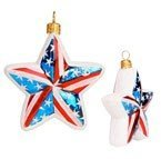 Slavic Treasures PAT085000 Shining Liberty Patriotic Star Blown Glass Ornament