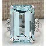 Sumanee Vintage Women 925 Silver Aquamarine Gemstone Ring Wedding Jewelry Size 6-10 (6)