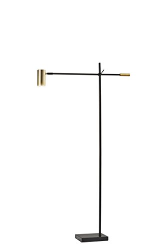 Adesso 4218-01 Collette LED Floor Lamp, Flat Black/Antique Brass